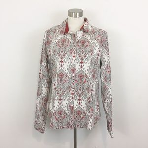 Talbots Wrinkle Resistant Red Paisley Button Down